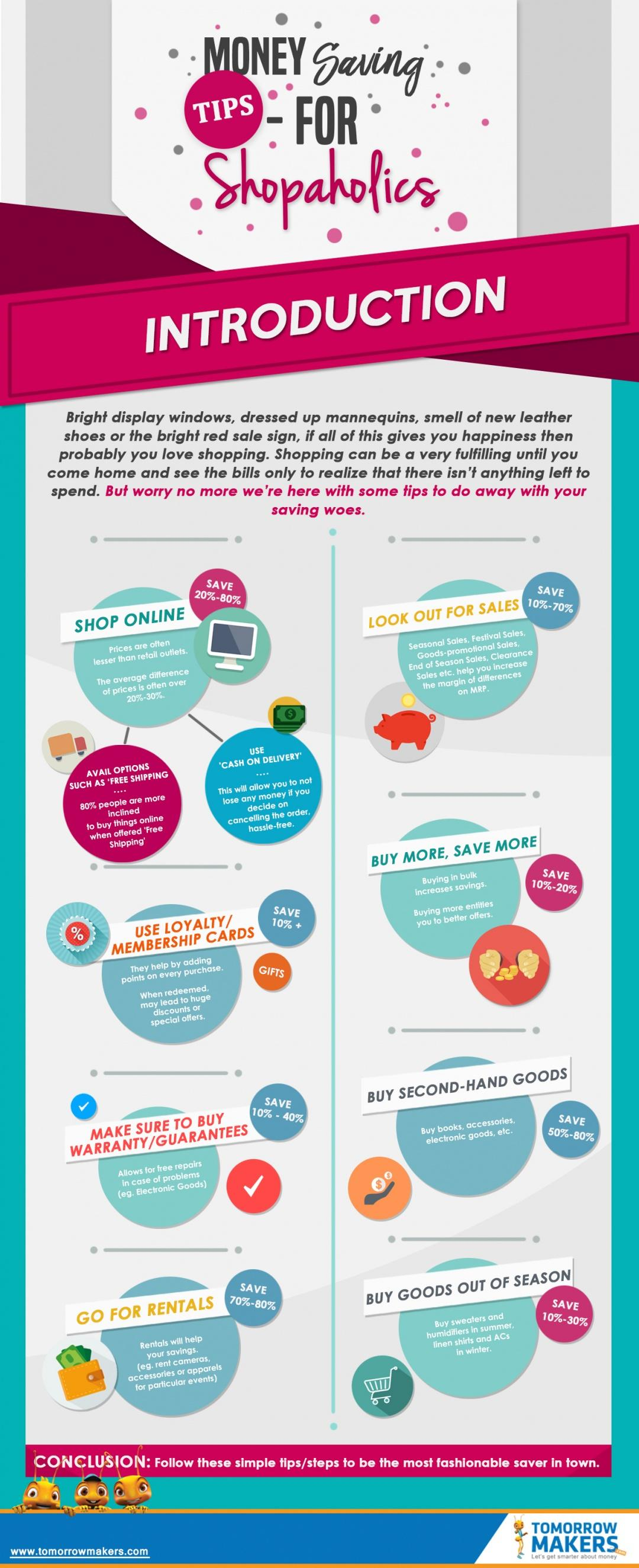Money Saving Tips For Shopaholics Infographic
